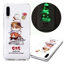 Voor Huawei P30 Lite Luminous TPU Soft Protective Case(Cats)