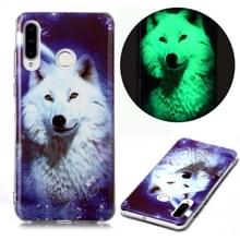 Voor Huawei P30 Lite Luminous TPU Soft Protective Case (Starry Sky Wolf)