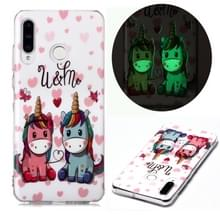 Voor Huawei P30 Lite Lichtgevende TPU Soft Protective Case (Woeste Wolf)