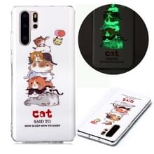 Voor Huawei P30 Pro Lichtgevende TPU Soft Protective Case(Cats)