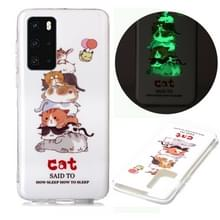 Voor Huawei P40 Lichtgevende TPU Soft Protective Case(Cats)