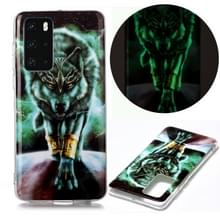 Voor Huawei P40 Lichtgevende TPU Soft Protective Case (Woeste Wolf)