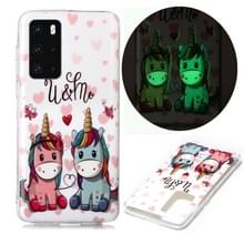 Voor Huawei P40 Lichtgevende TPU Soft Protective Case (Couple Unicorn)