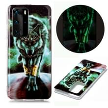 Voor Huawei P40 Pro Lichtgevende TPU Soft Protective Case (Woeste Wolf)