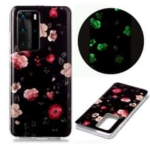 Voor Huawei P40 Pro Lichtgevende TPU Soft Protective Case(Rose)