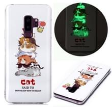 Voor Samsung Galaxy S9+ Lichtgevende TPU Soft Protective Case(Cats)