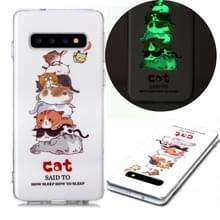 Voor Samsung Galaxy S10 Lichtgevende TPU Soft Protective Case(Cats)