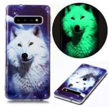 Voor Samsung Galaxy S10 Lichtgevende TPU Soft Beschermhoes (Starry Sky Wolf)