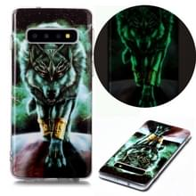 Voor Samsung Galaxy S10 Lichtgevende TPU Soft Protective Case (Woeste Wolf)