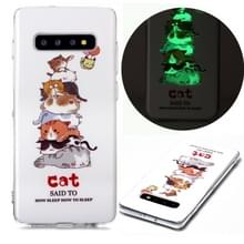 Voor Samsung Galaxy S10+ Lichtgevende TPU Soft Protective Case(Cats)
