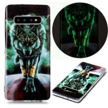 Voor Samsung Galaxy S10+ Lichtgevende TPU Soft Protective Case (Woeste Wolf)