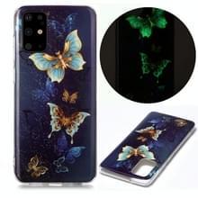 Voor Samsung Galaxy S20+ Lichtgevende TPU Soft Beschermhoes (Dubbele vlinders)