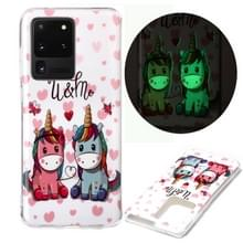 Voor Samsung Galaxy S20 Ultra Luminous TPU Soft Protective Case (Couple Unicorn)