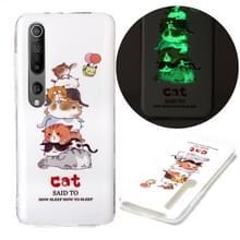 Voor Xiaomi Mi 10 5G Lichtgevende TPU Soft Protective Case(Cats)