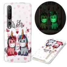 Voor Xiaomi Mi 10 5G Lichtgevende TPU Soft Protective Case (Couple Unicorn)