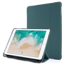 Voor iPad 9.7 (2018) & (2017) Airbag Horizontale Flip Lederen Kast met drievoudige houder & penhouder(Donkergroen)