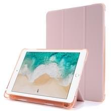 Voor iPad 9.7 (2018) & (2017) Airbag Horizontale Flip Lederen Kast met drievoudige houder & penhouder(roze)