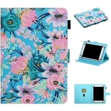 Voor 7 inch Universal Tablet PC Flower Pattern Horizontale Flip Lederen case met kaartslots & houder (Roze Bloem)