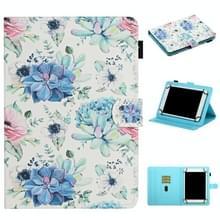 Voor 7 inch Universal Tablet PC Flower Pattern Horizontale Flip Lederen case met kaartslots & houder (blauwe bloem op wit)
