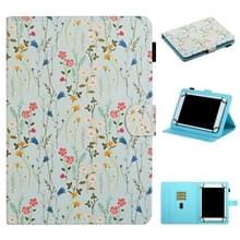Voor 7 inch Universal Tablet PC Flower Pattern Horizontale Flip Lederen case met kaartslots & houder(Small Floral)