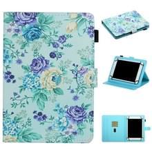 Voor 8 inch Universal Tablet PC Flower Pattern Horizontale Flip Lederen case met kaartslots & houder (paarse bloem)