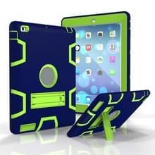 Voor iPad 4 / 3 / 2 / 1 Schokbestendige PC + Siliconen beschermhoes  met houder (Marine Blauw Geel Groen)