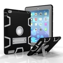 Voor iPad 4 / 3 / 2 / 1 Schokbestendige PC + Siliconen beschermhoes  met houder (Zwart Grijs)
