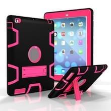 Voor iPad 4 / 3 / 2 / 1 Schokbestendige PC + Siliconen beschermhoes  met houder (Black Rose)