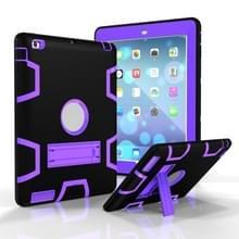 Voor iPad 4 / 3 / 2 / 1 Schokbestendige PC + Siliconen beschermhoes  met houder (Zwart paars)