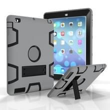 Voor iPad 4 / 3 / 2 / 1 Schokbestendige PC + Siliconen beschermhoes  met houder (Grijs Zwart)