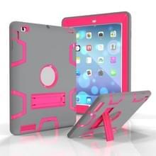 Voor iPad 4 / 3 / 2 / 1 Schokbestendige PC + Siliconen beschermhoes  met houder (Grijze Roos)
