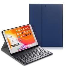 Voor iPad Air (2019) Elektrisch geperst horizontaal flip lederen kast met penslot & houder & toetsenbord(Donkerblauw)