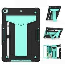 Voor iPad 10.2 / iPad Pro 10 5 T-vormige bracket contrastkleur schokbestendige pc + siliconen platte beschermhoes (Zwart+Mint Geen)