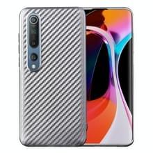 Voor Xiaomi Mi 10 Carbon Fiber Texture Schokbestendige TPU Beschermhoes (Zilver)