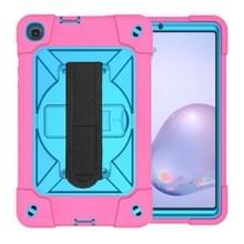 Voor Samsung Galaxy Tab A8.4 (2020) T307 Contrast Color Robot Shockproof Silicon + PC Beschermhoes met houder & pensleuf (Rosé Rood Blauw)