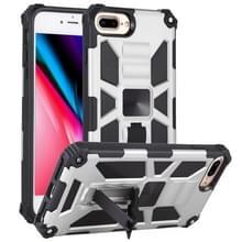 Voor iPhone 8 Plus / 7 Plus Schokbestendige TPU + pc magnetische beschermhoes met houder(zilver)