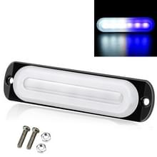 DC12V-24V / 18W Car Truck Emergency Strobe Flash Warning Light 6LEDs Ultra-thin Side Lights (Wit + Blauw)