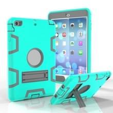Voor iPad Mini 5 / 4 Schokbestendige PC + Siliconen beschermhoes  met houder(Groen Grijs)
