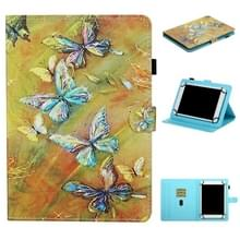 Voor 7 inch Universal Tablet Colored Drawing Stitching Horizontale Flip Lederen Case met Holder & Card Slots & Anti-skid strip (Butterfly)