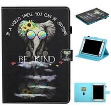 Voor 8 inch Universal Tablet Colored Drawing Stitching Horizontale Flip Lederen Case met Holder & Card Slots & Anti-skid strip (Brilpictogram)