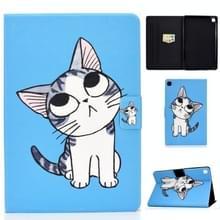 Voor Samsung Galaxy Tab S6 Lite P610 / P615 Voltage Painted Pattern Tablet PC Protective Leather Case met Bracket & Card Slots & Sleep / Wake-up & Anti-skid Strip(Blue Cat)