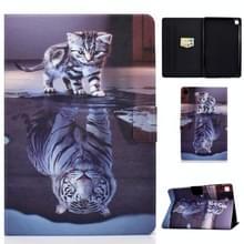 Voor Samsung Galaxy Tab S6 Lite P610 / P615 Voltage Painted Pattern Tablet PC Protective Leather Case met Bracket & Card Slots & Sleep / Wake-up & Anti-slip Strip(Cat and Tiger)