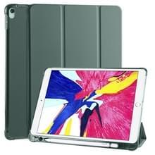 Voor iPad Pro 10 5 inch / Air 3 10 5 inch 3-vouwend horizontaal flip pu leder + schokbestendige TPU-behuizing met houder & pensleuf (Pine Green)
