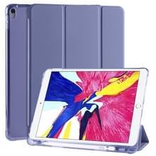 Voor iPad Pro 10 5 inch / Air 3 10 5 inch 3-vouwend horizontaal flip pu leder + schokbestendige TPU-kast met houder & pensleuf (Lavender Purple)