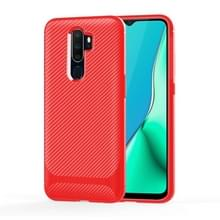 Voor OPPO A9 (2020) / A5(2020) Carbon Fiber Texture Shockproof TPU Protective Case(Red)