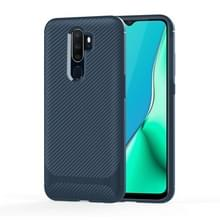 Voor OPPO A9 (2020) / A5(2020) Carbon Fiber Texture Shockproof TPU Protective Case(blauw)