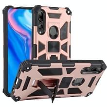 Voor Huawei Y9 Prime (2019) Shockproof TPU + PC Magnetic Protective Case met Holder(Rose Red)