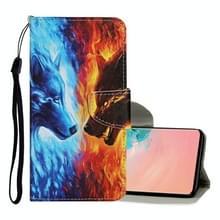 Voor Samsung Galaxy S10 Gekleurd tekenpatroon Horizontaal Flip Lederen hoesje met houder & kaartslots & portemonnee & lanyard(Flame Wolf)