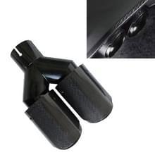 Auto Glossy Gelijke Lengte Type Y-type Double Outlets Carbon Fiber Uitlaatpijp staart keel  Luchtinlaat diameter: 57mm