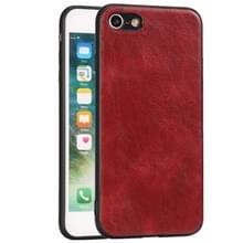 Voor iPhone 7 / 8 Crazy Horse Textured Kalfsleer PU +PC + TPU Case (Rood)